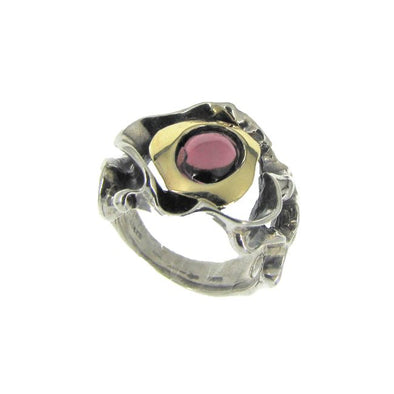 Red as a Garnet Sterling Silver and Gold Ring
