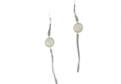 Sterling Silver Earrings with White Opal