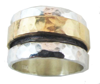 Sterling Silver and Gold Hammered Spinning Ring