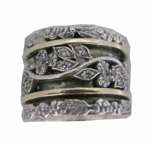 Art Deco Style Sterling Silver and Gold Ring