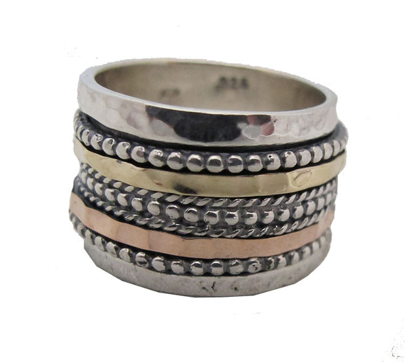 Meron Rose Gold and Sterling Silver Spinning Ring
