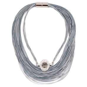 Multistrand grey necklace with Swarovski crystal pendant