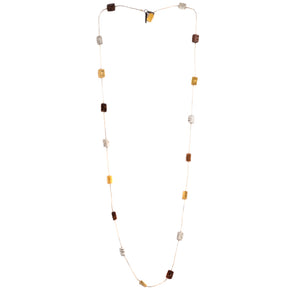 Long mixed metal necklace with rectangular elements in gold, silver, copper and bronze