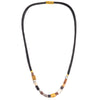 Black leatherette necklace with mixed metak cubes and magnetic clasp