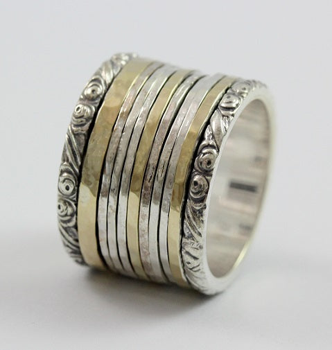 Matan Sterling Silver and Gold Spinning Ring