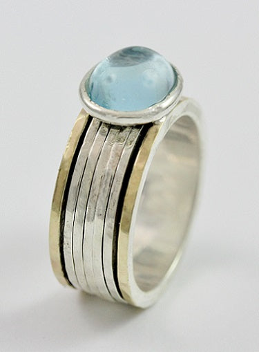 Sea Blue Topaz Sterling Silver  Ring