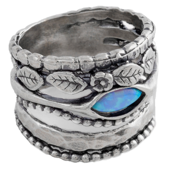 Stacked Up Sterling Silver Opal Ring
