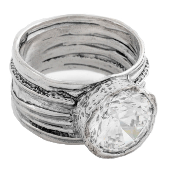 Swirled Sterling Silver Ring with Cubic Zirconia