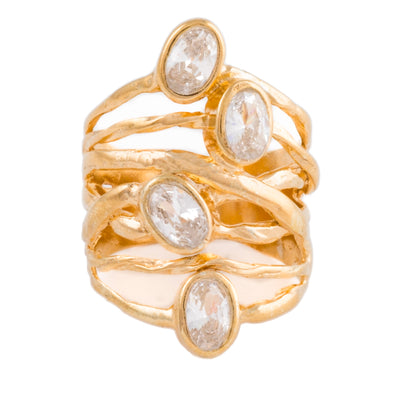 Gold plated sterling silver ring with cubic zirconia
