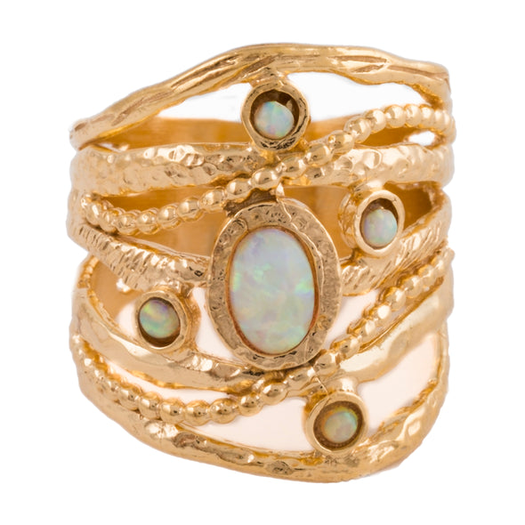 Opal Gold Plated Sterling Silver Ring