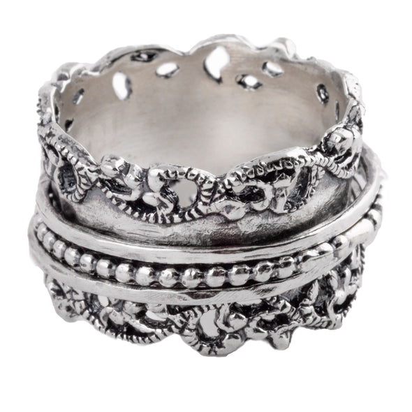 Sterling Silver Spinning Ring with Organic Design