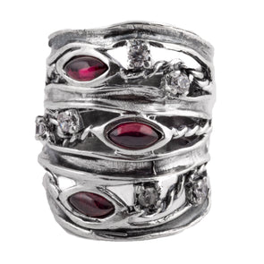 Garnet of Love Sterling Silver Ring