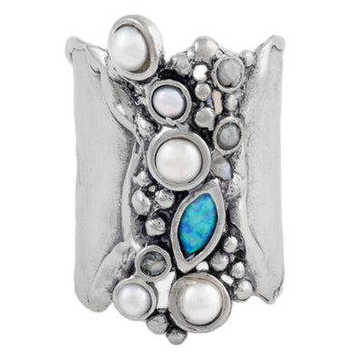 Pearl and Opal Sterling Silver Ring