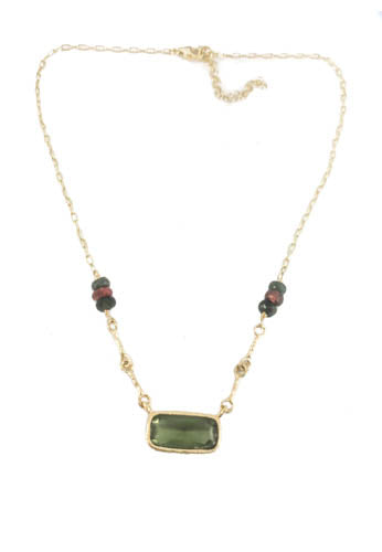 Green With Envy Gold Plated Sterling Silver Necklace