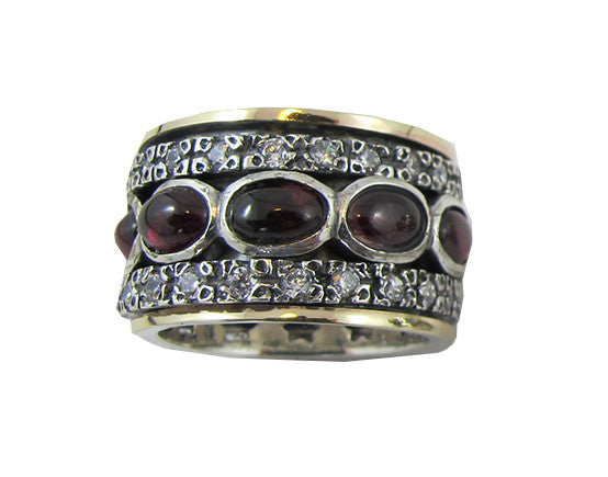 Sterling Silver Spinning Ring with Garnet and Gold