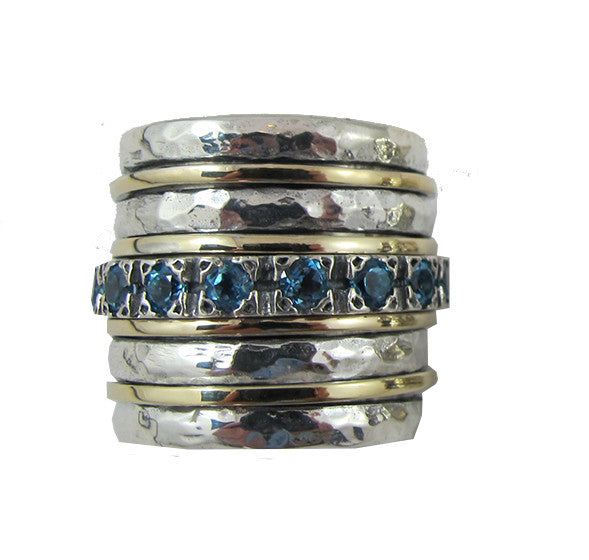 Galilee Spinning Ring - Blue Topaz