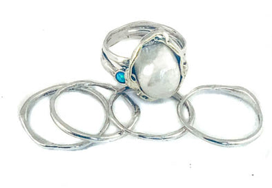 Stackable Sterling Silver Ring with Pearl