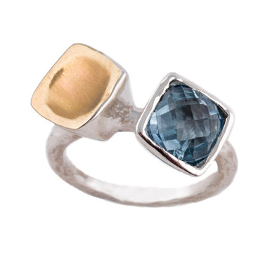 Feeling Blue and Gold Sterling Silver Ring