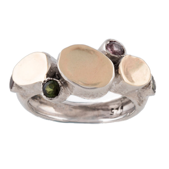 Tourmaline and Gold Sterling Silver Ring