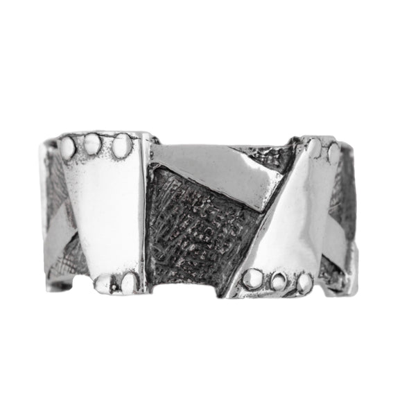Two tone Sterling Silver Band Ring