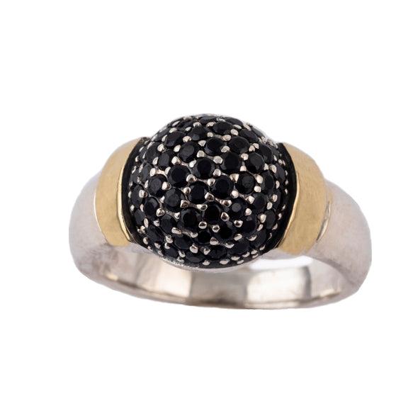Silver and gold ring with black spinel stones