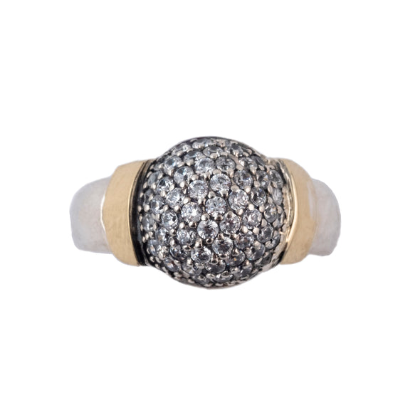 Sterling silver Dome Ring with Cubic Zirconia