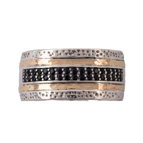 Rows of Black and Gold Band Ring
