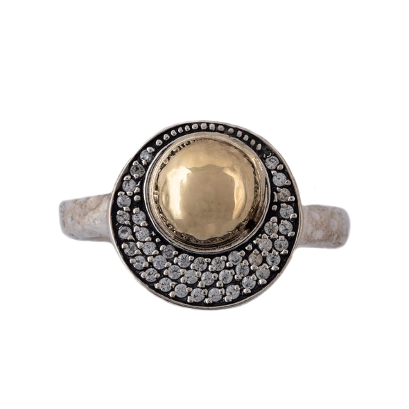Gold and Spinel Sterling Silver Ring