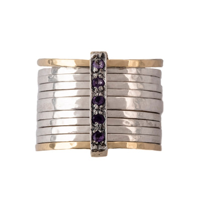 Stacked Sterling Silver and Gold Ring with Black Spinel