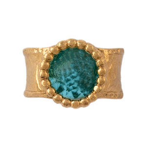 Gold Plated Sterling Silver Ring with Blue Stone