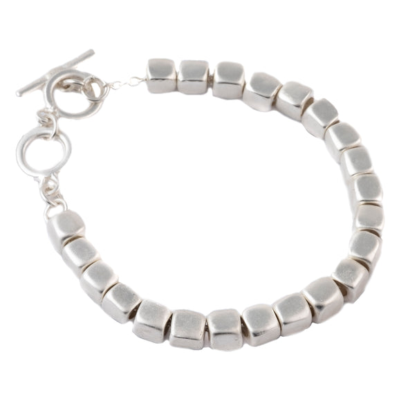 Silver bracelet made of small nugget cubes