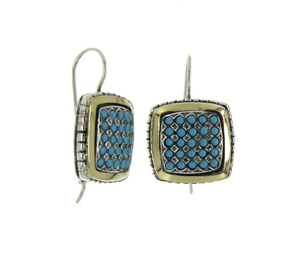 Turquoise Sterling Silver and Gold Earrings