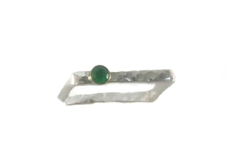 Squared Up Stackable Sterling Silver Band with Peridot