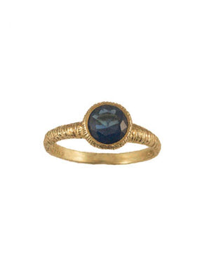 Dainty Gold Plated Sterling Silver Ring with Blue Stone
