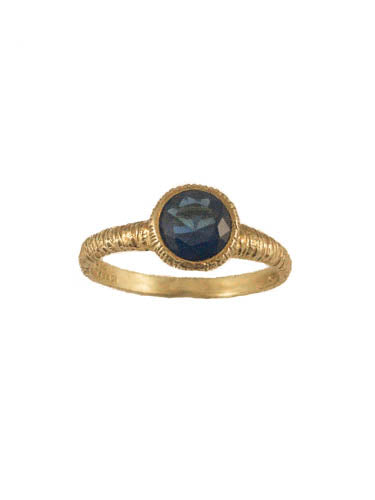 Thin gold plated sterling silver band with blue stoneDainty gold plated sterlin silver ring with blue stone