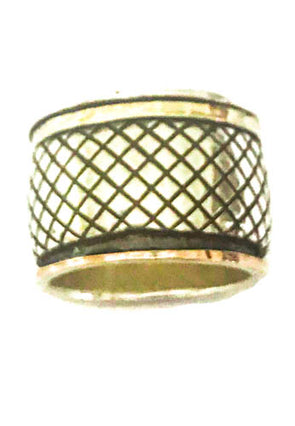 Sterling silver and gold meditation ring.  spinning ring in criss cross pattern