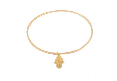 Gold Plated Sterling Silver Bangle With Hamsa