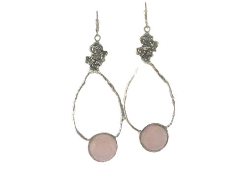 Long sterling earrings with pink stone