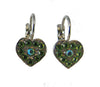 small heart chaped earrings set with swarovski crystals in green