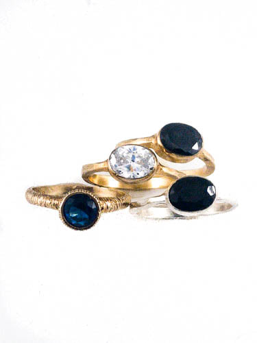 Gold Plated Sterling Silver Ring with Black Stone