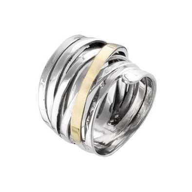 A Swirl Of Gold Sterling Silver Ring