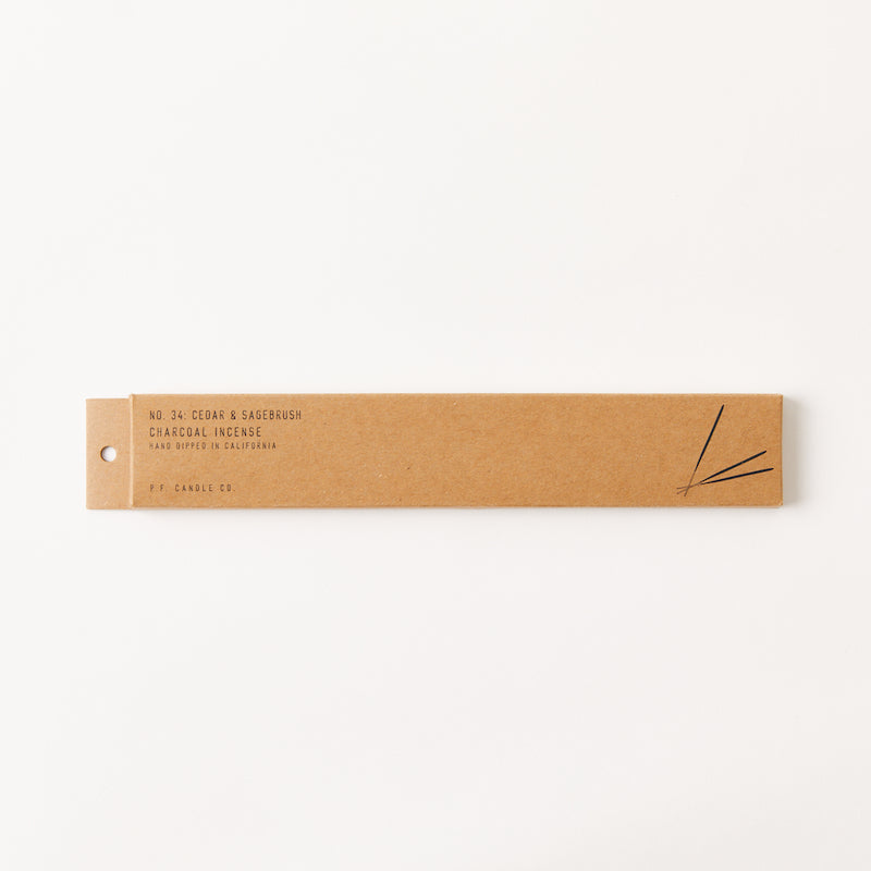 PF Candle Co Cedar and Sagebrush scented incense sticks in kraft packaging