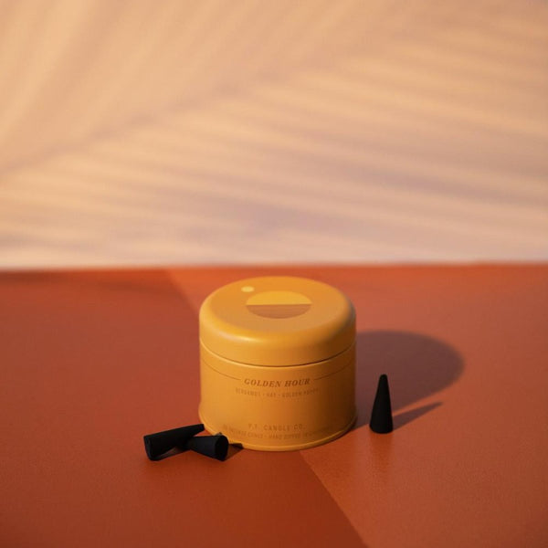PF Candle Co Golden Hour incense cones from the Sunset collection is tin packaging