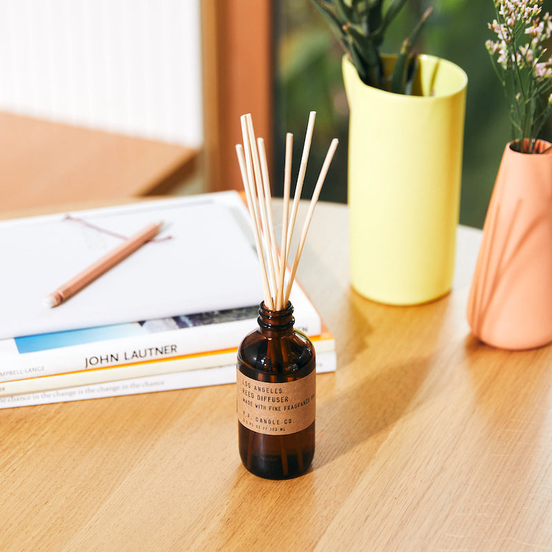 PF Candle Co Los Angeles scented reed diffuser inspired by overgrown bougainvillea, canyon hiking, epic sunsets, city lights with scent notes of redwood, lime, jasmine, and yarrow