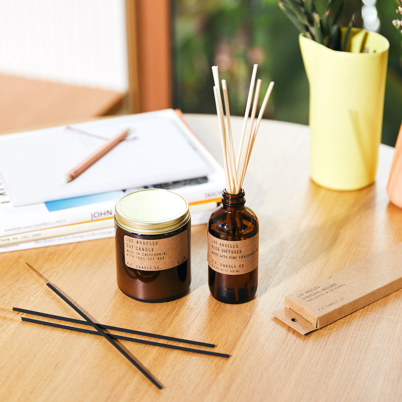 PF Candle Co Los Angeles scented soy wax candle, reed diffuser, and incense sticks