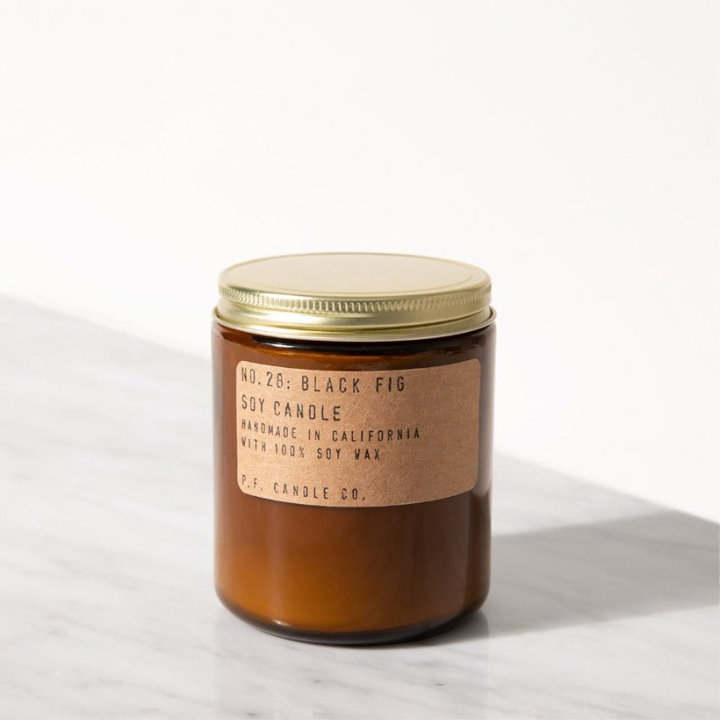 Black Fig Standard Candle in amber glass jar from P.F. Candle Co.