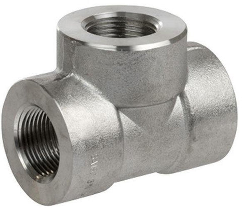 "1-1/2"" 3000# Threaded Tee 304 Stainless"