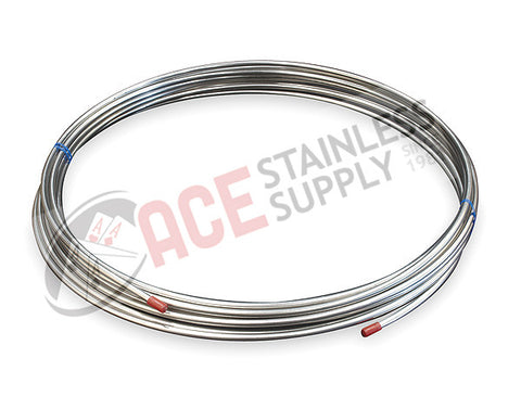 ".250"" (1/4"") OD x 0.035"" Seamless Tube 304L Stainless Steel x 20' Coil - Ace Stainless Supply"