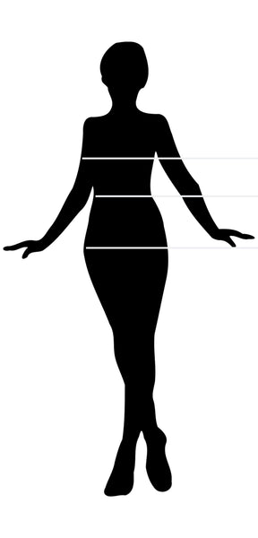 Women's silhouette for sizing and measurements