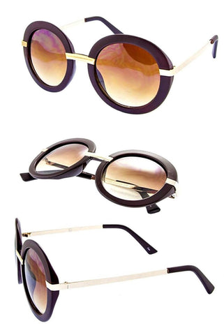 Glossy two tone round sunglasses